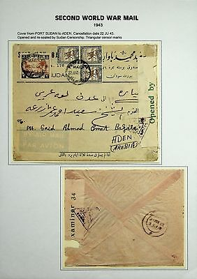 ADEN ARABIA 2nd WW 1943 4 VALS ON CENSORED AIRMAIL COVER