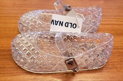 New Girls Old Navy Toddler Clear Flower Jelly Sandals Size 5 8 9 11