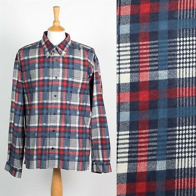 Mens Vintage Flannel Check Shirt Blue And Red Plaid Lumberjack Retro 2Xl Xxl