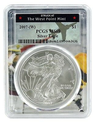 2007 (w) Struck At West Point Silver Eagle PCGS MS69 - West Point Frame