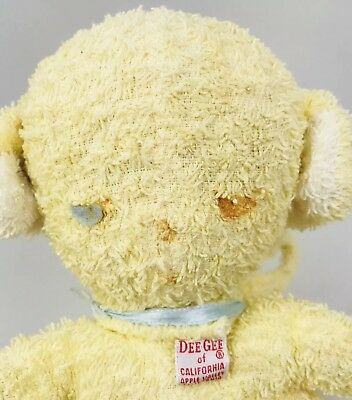 Vintage Dee Gee California Terry Cloth Bottle Prop Plush Stuffed Baby Toy Yellow