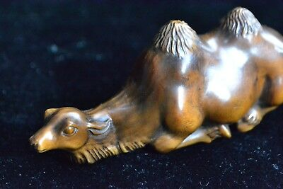 Antique Collectible Copper Handwork Boxwood Chinese Desert Camel Figure Statue