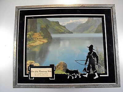 Vintage ADVERTISING pic SAC CITY RENDERING SILHOUETTE  boy dog fishing LARSON