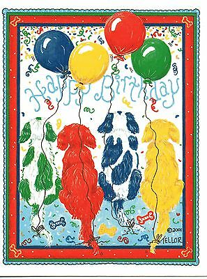 Cavalier King Charles Spaniel Happy Birthday one blank note card