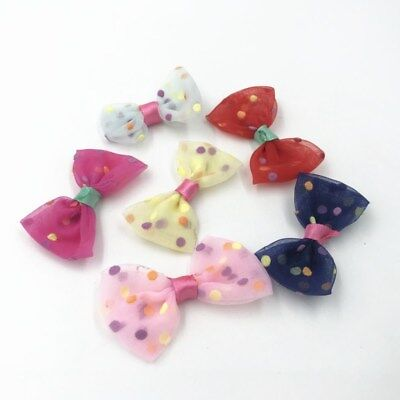 DIY 40X Organza Bowknot Dot  Headwear decoration Girl jewelry accessories Bows
