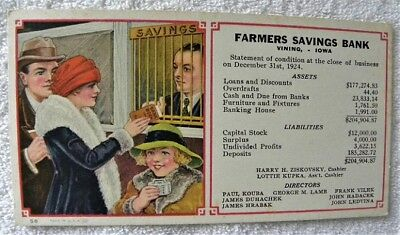 1924 Farmers Savings Bank, Vining,Iowa IA Ink Blotter,Kupka,Kouba,Hrabak,Ledvina