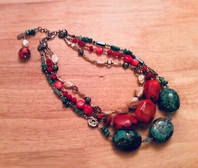 Vintage Très Jolie Turquoise and Coral 3 Strand Necklace Semi- Precious Stones