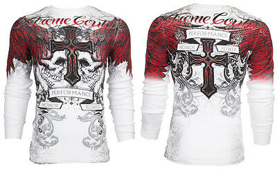 XTREME COUTURE by AFFLICTION Mens LONG SLEEVE THERMAL Shirt CARNIVORE Skulls $58