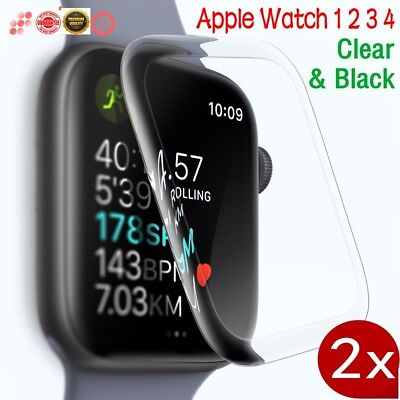 2X 3D Full Coverage Screen Protector Cover for Apple Watch Series 4 3 2 1 iWatch