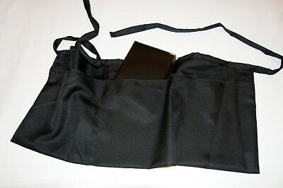 1 new black server apron, 3 pocket waist waiter waitress, with checkbook