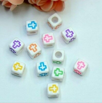 DIY 100X Cubic Mixed cross Acrylic Beads Pacifier clip Necklace Jewelry 6mm