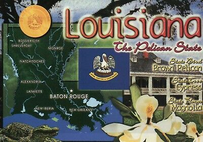 Map of Louisiana, The Pelican State, New Orleans Baton Rouge Flag etc - Postcard