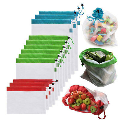 5-15x Eco Friendly Reusable Mesh Produce Bags Superior Double-Stitched Strength