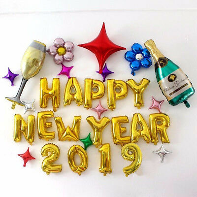 Happy New Year Gold Foil Helium Balloons Eve Party Merry Christmas Decorations