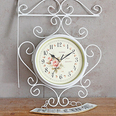 Vintage White Outdoor Garden Station Wall Clock Outside Bracket Double Sided