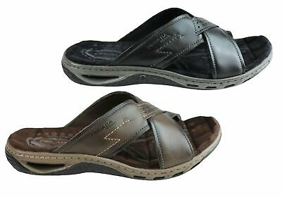 New Pegada Jerry Mens Leather Comfy Cushioned Slide Sandals Made In Brazil