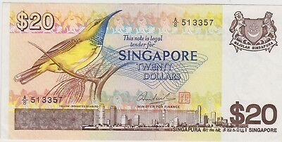 P12 Singapore 20 Dollars Banknote In Near Mint Condition