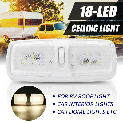 Double Dome Ceiling Light Lamp 18 LED SMD 12V For RV Boat Camper Trailer Marine