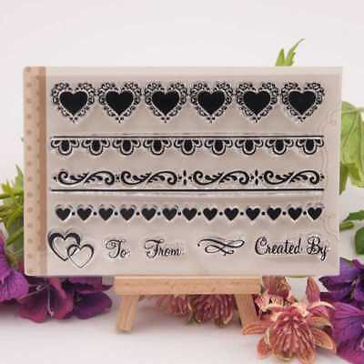 Heart strip Border  Silicone Clear Stamp Transparent Rubber Stamps DIY Scrapbook