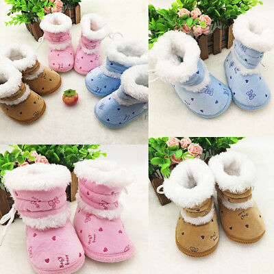 Baby Boys Girls Newborn Winter Plush Boots Toddler Infant Soft Sole Shoes 0-12M