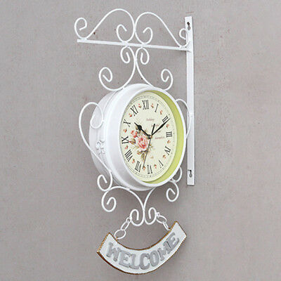 Vintage Style Outdoor Garden Station Wall Clock Outside/Bracket Double Sided New
