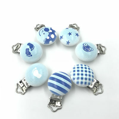 DIY Blue  Baby Pacifier Clip Wood Teether Accessories Soother Clasps Holders