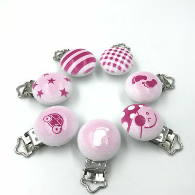 DIY Pink Baby Pacifier Clip Wood Teether Accessories Soother Clasps Holders