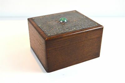Beautiful Arts and Crafts oak and pewter trinket box with green glass jewel
