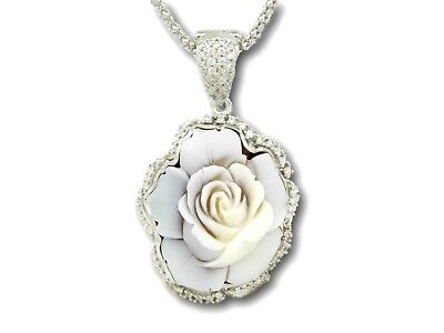 Hand Made Cameo Flower Pendant Necklace Christmas 925 Sterling Silver Made Italy