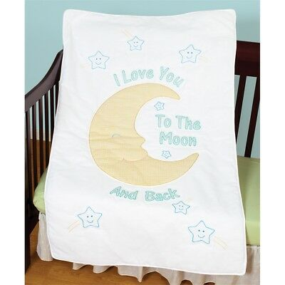 "Jack Dempsey Stamped White Quilt Crib Top 40""x60""-love You To The Moon"