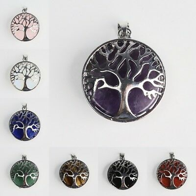 Natural Amethyst Gem Round Tree of Life Reiki Chakra Silver Pendant fit Necklace