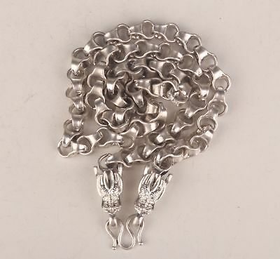 Tibetan Silver Old Silver Hand Carved Dragon Statue Christmas Gift Necklace