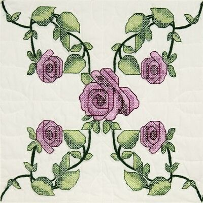 "Fairway Stamped Quilt Blocks 18""x18"" 6/pkg-rose Vine"