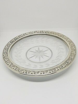 Wallace Sterling Silver Rim & Glass Plate #267