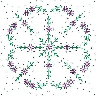"Fairway Stamped Quilt Blocks 18""x18"" 6/pkg-easy Lazy Daisy"