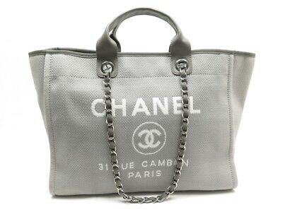 Neuf Sac A Main Chanel Deauville Large Cabas En Toile Grise Grey Tote Bag  2650€ 5f2c6c7b79e