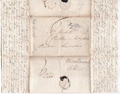 # 1834 Liverpool Penny Post & Rare Woodside Fleuron Letter Ex Smyrna To Preston