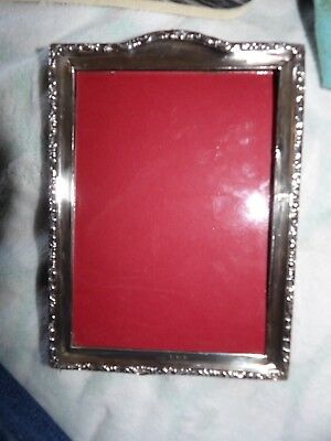Ww1 Era Sterling Silver Easel Wooden Back Standing Photo Frame Birm 1916