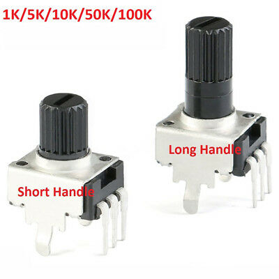 RV09 Potentiometer 1K 5K 10K 50K 100K Vertical Round Shaft Plum Handle 0932 Pot