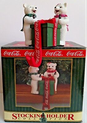 RARE COCA COLA stocking holder POLAR BEARS - NEUF