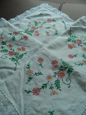 Vintage hand embroidered Irish linen tablecloth - Pink Florals with lace edge