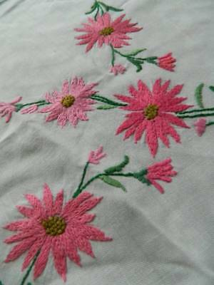 Vintage white hand embroidered tablecloth - Pink Floral Sprays.