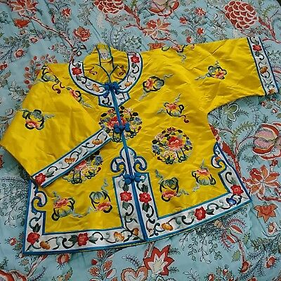 Rare Embroidered Silk Chinese Childs 4 Top Vintage 1950s New Never Worn