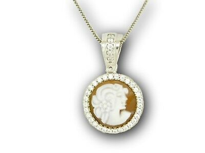 Cameo Woman profile Pendant Necklace Christmas 925 Sterling Silver Made in Italy