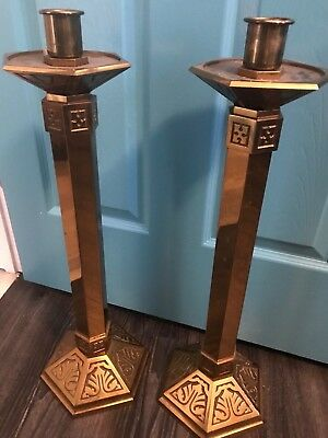 Rare Large Pair Of Heavy Vintage Bronze Catholic Church Altar Candle Sticks