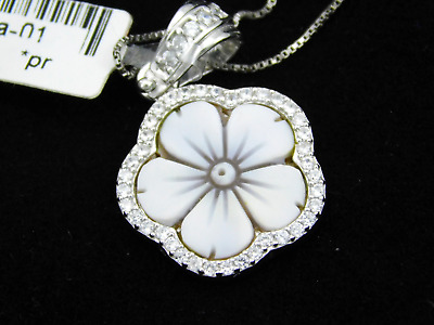 Pendant Cameo Flower Necklace Chain 925 Sterling Silver Christmas Hand Made