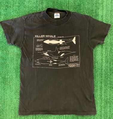 Vintage Killer Whale Blue Print T Shirt Size M Made In USA Single Stitch Black