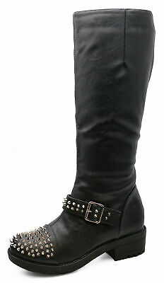 Ladies Black Zip-Up Stud Knee-High Tall Winter Riding Smart Boots Shoes Uk 3-8