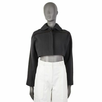 55587 auth ALAIA grey wool & cashmere BRAIDED TRIM Bolero Jacket 38 S