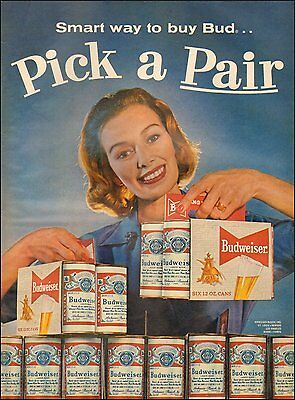 1960s vintage AD for BUDWEISER BEER Old fashioned cans 6 packs (083116)